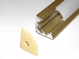 Profil LED 2mb narożny (kątowy) 45 złoty matowy klosz klik transparentny