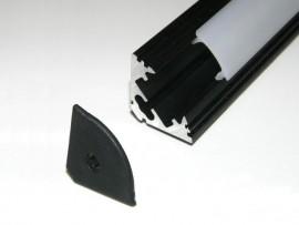 Profil LED 2mb narożny (kątowy) 45 czarny matowy klosz klik mleczny